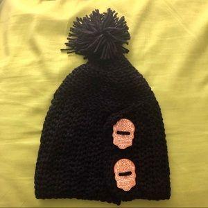 Handmade Knitted Sugar Skull Wooden Bead Pom Hat